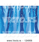 Vector of Cartoon Background of Bare Tree Trunks in the Woods by Visekart