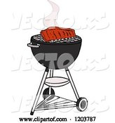 Vector of Cartoon Barbeque Ribs Cooking on a Weber Charcoal Grill by LaffToon