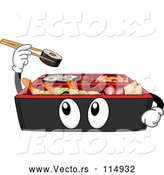 Vector of Cartoon Bento Box Holding up Sushi by BNP Design Studio