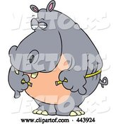 Vector of Cartoon Big Hippo Measuring His Waist with a Short Tape by Toonaday