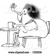 Vector of Cartoon Black and White Chubby Lady Sitting with Coffee at a Table and Waving by Djart