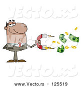 Vector of Cartoon Black Business Man Collecting Cash with a Money Magnet by Hit Toon