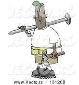 Vector of Cartoon Black Construction Worker Guy with a Giant Nail on His Shoulder, Carrying a Hammer in His Hand by Djart