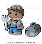 Vector of Cartoon Black Contractor Guy Holding Wrench Beside Toolbox by Leo Blanchette