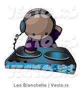 Vector of Cartoon Black Dj Mixing Dual Records at Party by Leo Blanchette