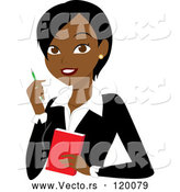 Vector of Cartoon Black or Indian Business Woman with a Pen and Notepad by Rosie Piter