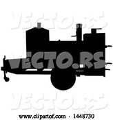 Vector of Cartoon Black Silhouetted Offset Barbeque Smoker Trailer by LaffToon