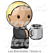 Vector of Cartoon Blond Business Guy Holding a Cup of Coffee by Leo Blanchette