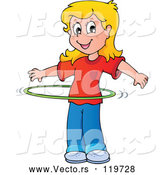 Vector of Cartoon Blond Girl Playing with a Hula Hoop by Visekart