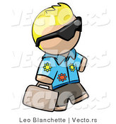Vector of Cartoon Blond Tourist Guy Wearing Shades and Carrying Luggage by Leo Blanchette