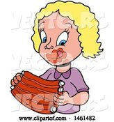 Vector of Cartoon Blond White Girl Licking Bbq Sauce off of Her Lips and Eating Ribs by LaffToon
