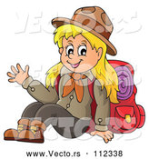 Vector of Cartoon Blond White Girl Scout Sitting and Waving with Camping Gear by Visekart