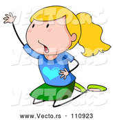 Vector of Cartoon Blond White Stick Girl Kneeling and Begging by Graphics RF