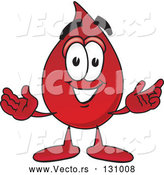 Vector of Cartoon Blood Drop Mascot Character with Welcoming Open Arms by Toons4Biz