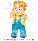 Vector of Cartoon Boy Covering His Ears from Noise While Looking Annoyed by BNP Design Studio