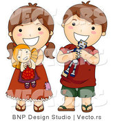 Vector of Cartoon Brother and Sister with Toys by BNP Design Studio