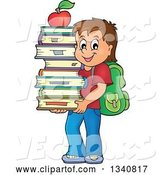 Vector of Cartoon Brunette White School Boy Carrying a Stack of Books with an Apple on Top by Visekart