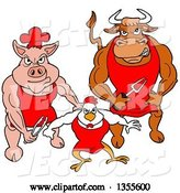 Vector of Cartoon Buff Bbq Chef Bull, Chicken and Pig Flexing Their Muscles by LaffToon