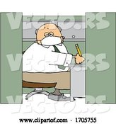 Vector of Cartoon Business Man Wearing a Covid19 Mask and Working in a Cubicle by Djart