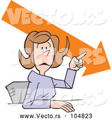 Vector of Cartoon Businesswoman Making a Point, Downward Trend by Johnny Sajem