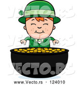 Vector of Cartoon Child Leprechaun Boy and Pot of Gold by Cory Thoman