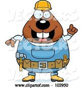 Vector of Cartoon Chubby Beaver Construction Worker by Cory Thoman