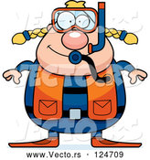 Vector of Cartoon Chubby Female Scuba Diver by Cory Thoman