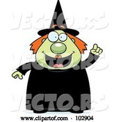 Vector of Cartoon Chubby Green Witch Holding up a Finger by Cory Thoman
