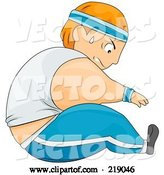 Vector of Cartoon Chubby Guy Doing Sit Ups by BNP Design Studio
