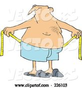 Vector of Cartoon Chubby Guy Measuring Around His Waist by Djart