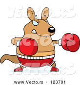 Vector of Cartoon Chubby Kangaroo Boxing by Cory Thoman