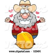 Vector of Cartoon Chubby Prospector with a Large Piece of Gold by Cory Thoman