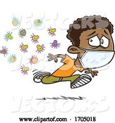 Vector of Cartoon Clipart Boy Wearing a Mask and Running from Germs by Toonaday