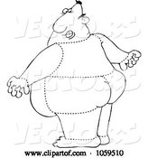 Vector of Cartoon Coloring Page Outline of a Rear View of a Quartered Guy by Djart
