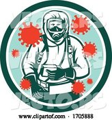 Vector of Cartoon Coronavirus Hazardous Chemical Suit Medical Worker by Patrimonio