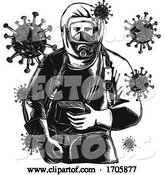 Vector of Cartoon Coronavirus Hazmat Suit Worker Frnt WC by Patrimonio
