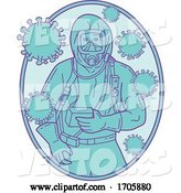 Vector of Cartoon Coronavirus Medical Worker Haz Chem Suit-OVAL-MLINE by Patrimonio