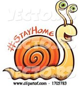Vector of Cartoon Coronavirus Snail with a Stay Home Message by Zooco