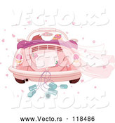 Vector of Cartoon Couple Driving Away in a Pink VW Slug Bug Wedding Car by Pushkin
