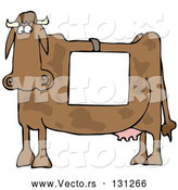 Vector of Cartoon Cow Standing in Profile, Wearing a Blank White Sign over Its Back by Djart