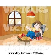 Vector of Cartoon Depressed Gluttonous Guy Surrounded by Food by Graphics RF