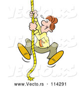 Vector of Cartoon Determined White Guy Climbing an Upward Mobility Rope by Johnny Sajem