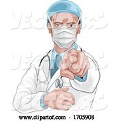 Vector of Cartoon Doctor Wants or Needs You Pointing Medical Concept by AtStockIllustration