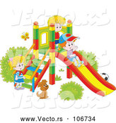 Vector of Cartoon Dog Watching KChildren Play on a Slide on a Playground by Alex Bannykh