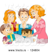 Vector of Cartoon Family Giving a Birthday Cake and Presents to a Guy by BNP Design Studio