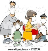 Vector of Cartoon Family Wearing Masks and Shopping During the Covid19 Pandemic by Djart
