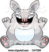 Vector of Cartoon Fat Aardvark Sitting and Cheering by Cory Thoman