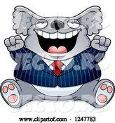 Vector of Cartoon Fat Business Koala Sitting and Cheering by Cory Thoman