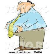 Vector of Cartoon Fat Business Man Standing and Grabbing His Belly Fat by Djart