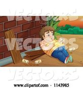 Vector of Cartoon Fat Drunk Guy by a Brick Wall by Graphics RF